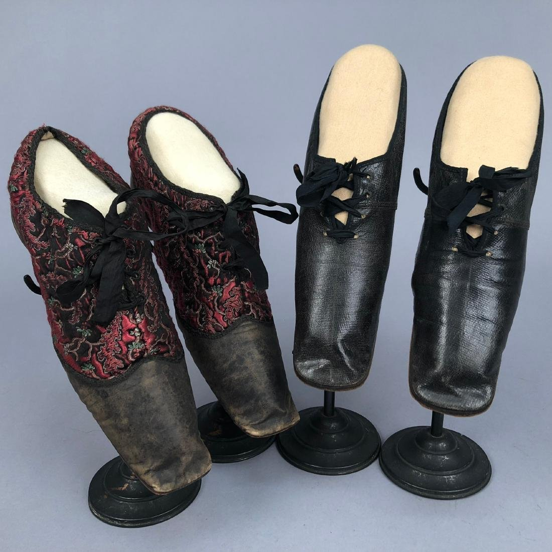 TWO PAIR LADIES' LACING SHOES, 1840s