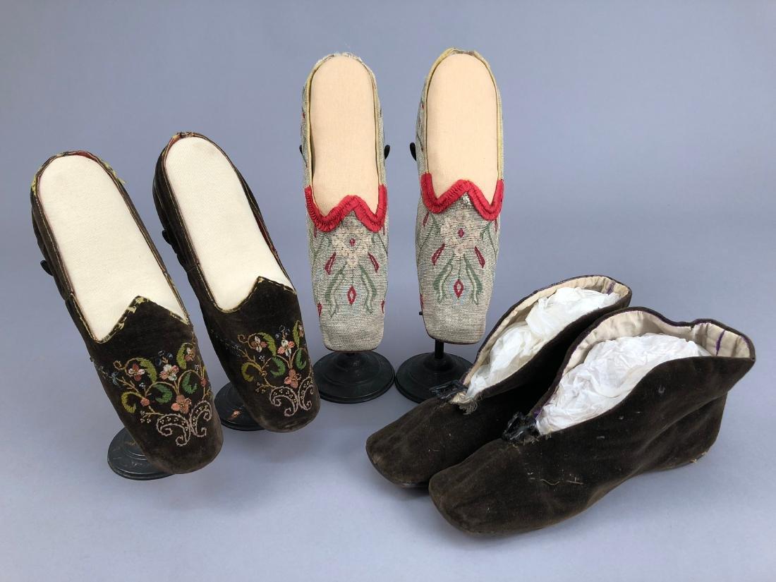 THREE PAIR WOMEN'S SLIPPERS, 1840s - 1850s