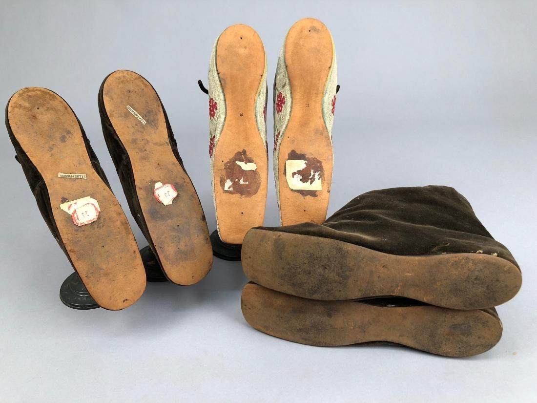 THREE PAIR WOMEN'S SLIPPERS, 1840s - 1850s - 6