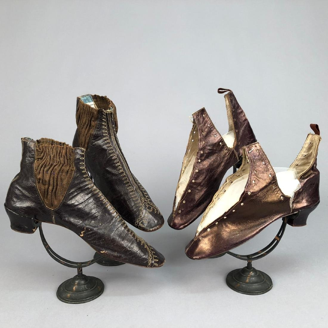 EMBROIDERED BOOTS with ELASTIC INSET, 1850s - 2