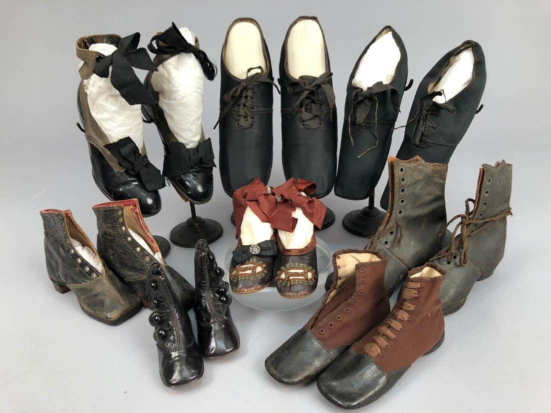 EIGHT PAIR CHILDREN'S SHOES, 1840s - 1910