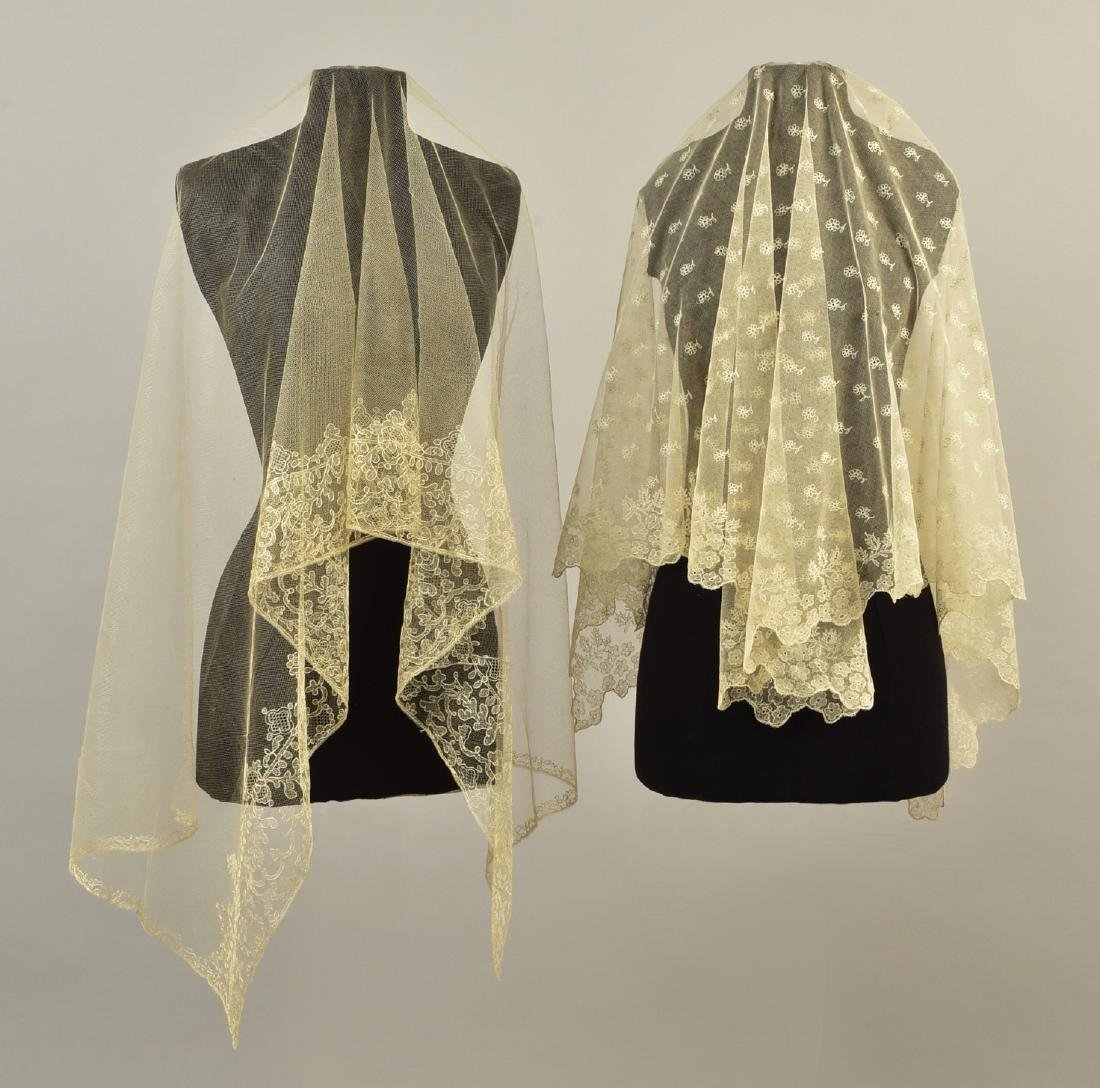 TWO CREAM NEEDLERUN LACE BONNET VEILS, 1830s - 1840s