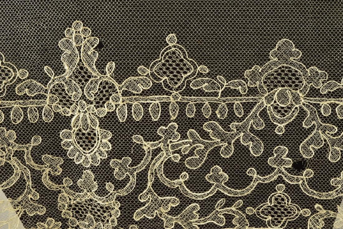 TWO CREAM NEEDLERUN LACE BONNET VEILS, 1830s - 1840s - 2