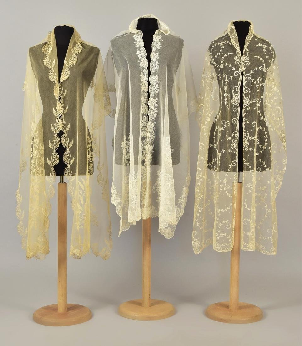 THREE EMBROIDERED NET STOLES, 1800 - 1830