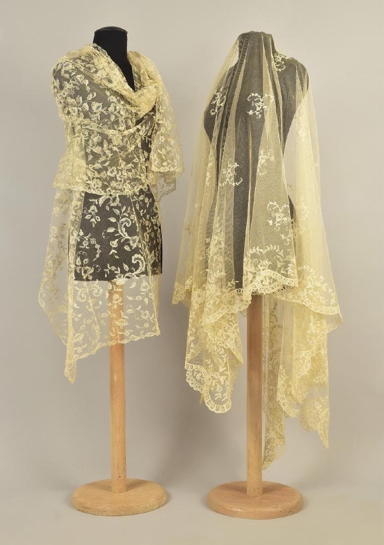 TWO LACE WEDDING VEILS,  1810 - 1820s