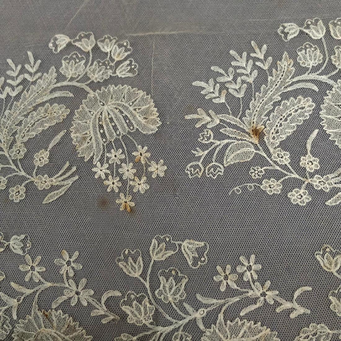 FOUR CREAM EMBROIDERED NET BONNET VEILS, 1810 - 1830 - 6
