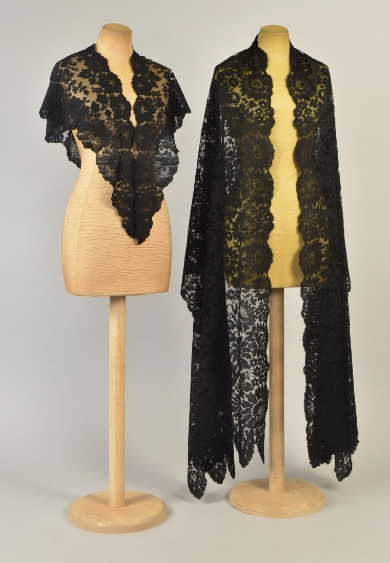 BLACK BLONDE LACE STOLE and SHAWL, 1830s