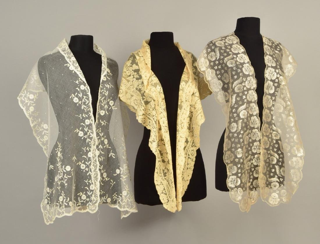 TWO SILK LACE WRAPS and a COTTON TIPPET, 1820s - 1840s