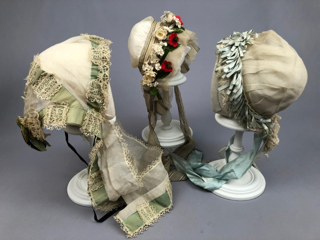 THREE FANCY INDOOR BONNETS, 1840s - 1880s