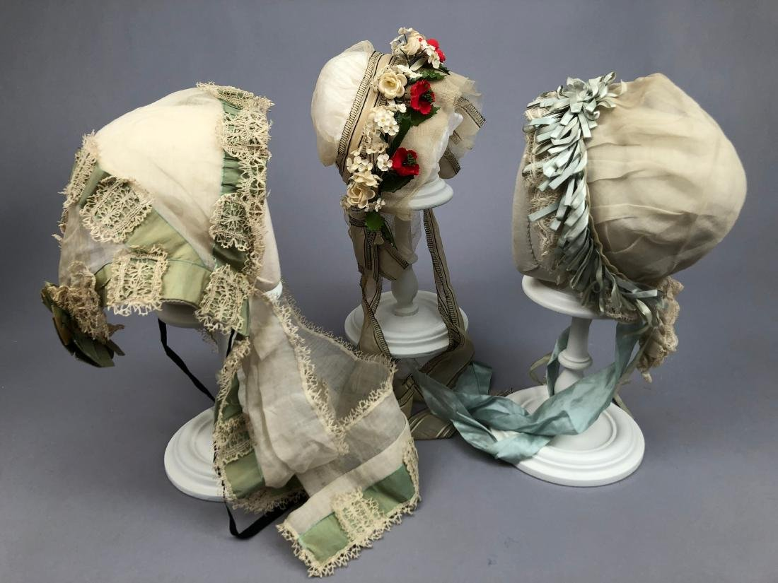THREE FANCY INDOOR BONNETS, 1840s - 1880s - 2