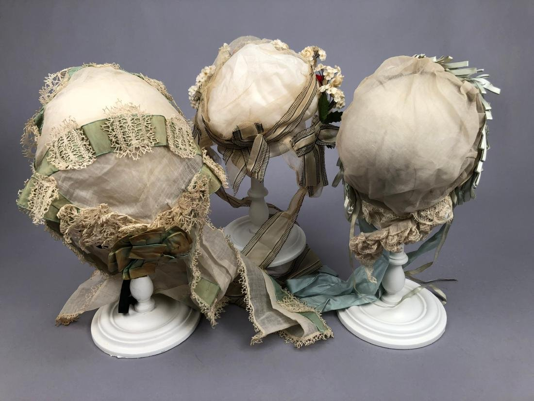 THREE FANCY INDOOR BONNETS, 1840s - 1880s - 3