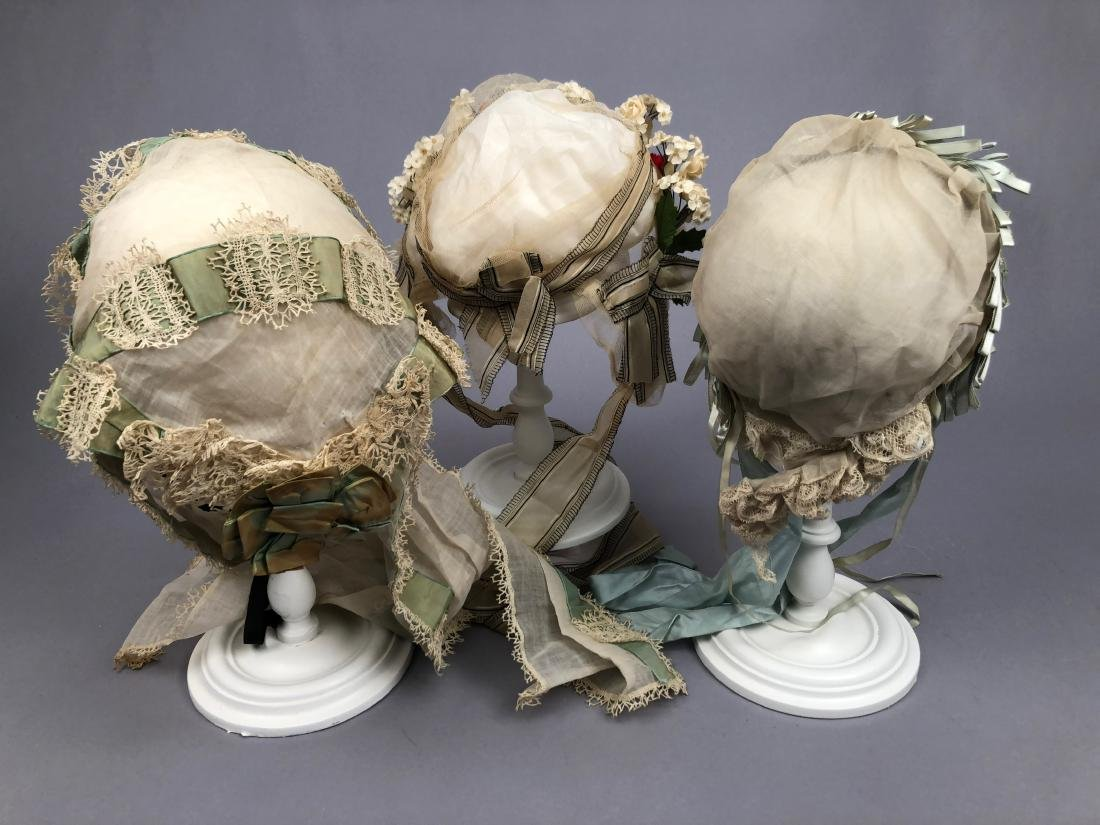 THREE FANCY INDOOR BONNETS, 1840s - 1880s - 4