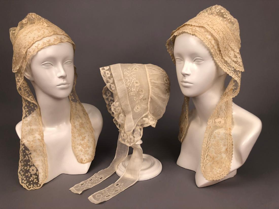 THREE APPLIQUE LACE INDOOR BONNETS, 1830s - 1850s