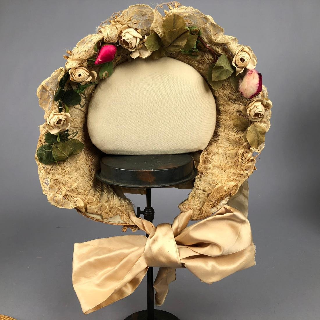 TAN STRAW LADY'S BONNET and GIRL'S HAT, 1850 - 1855 - 10