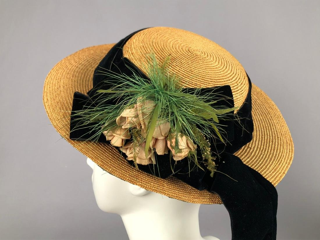 TAN STRAW LADY'S BONNET and GIRL'S HAT, 1850 - 1855 - 2