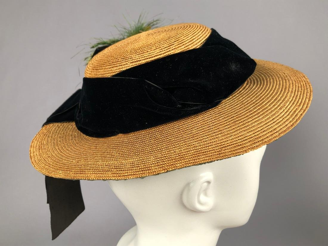 TAN STRAW LADY'S BONNET and GIRL'S HAT, 1850 - 1855 - 3