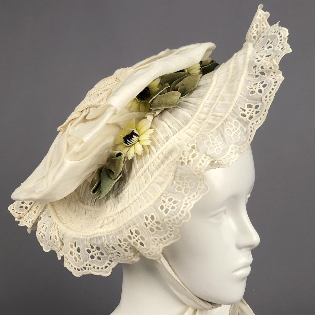 TAN STRAW LADY'S BONNET and GIRL'S HAT, 1850 - 1855 - 5