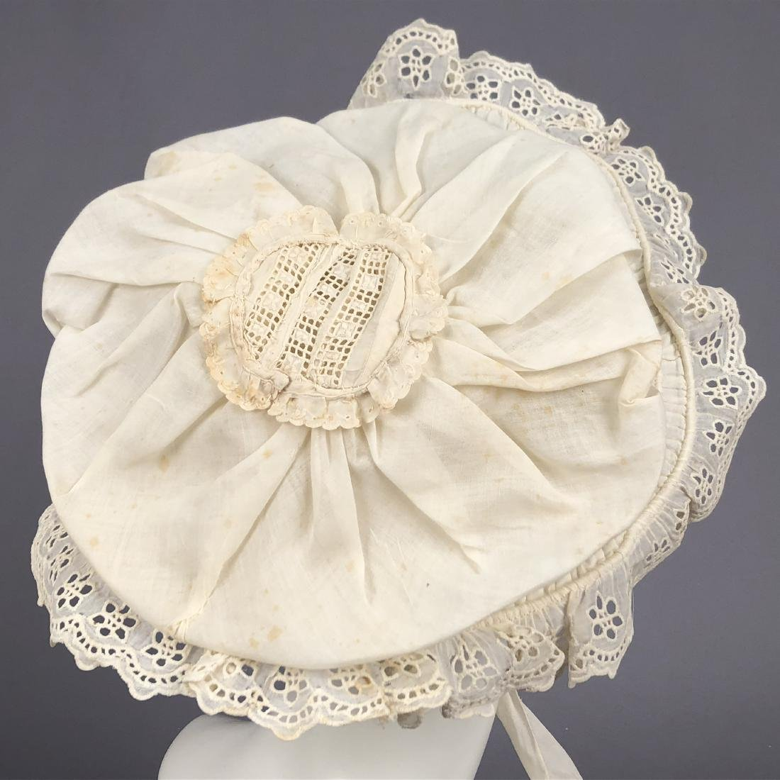 TAN STRAW LADY'S BONNET and GIRL'S HAT, 1850 - 1855 - 6