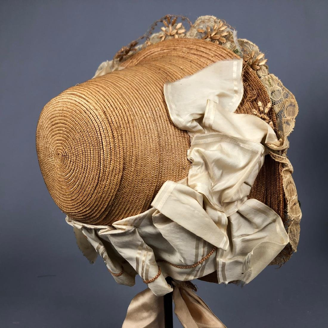 TAN STRAW LADY'S BONNET and GIRL'S HAT, 1850 - 1855 - 8