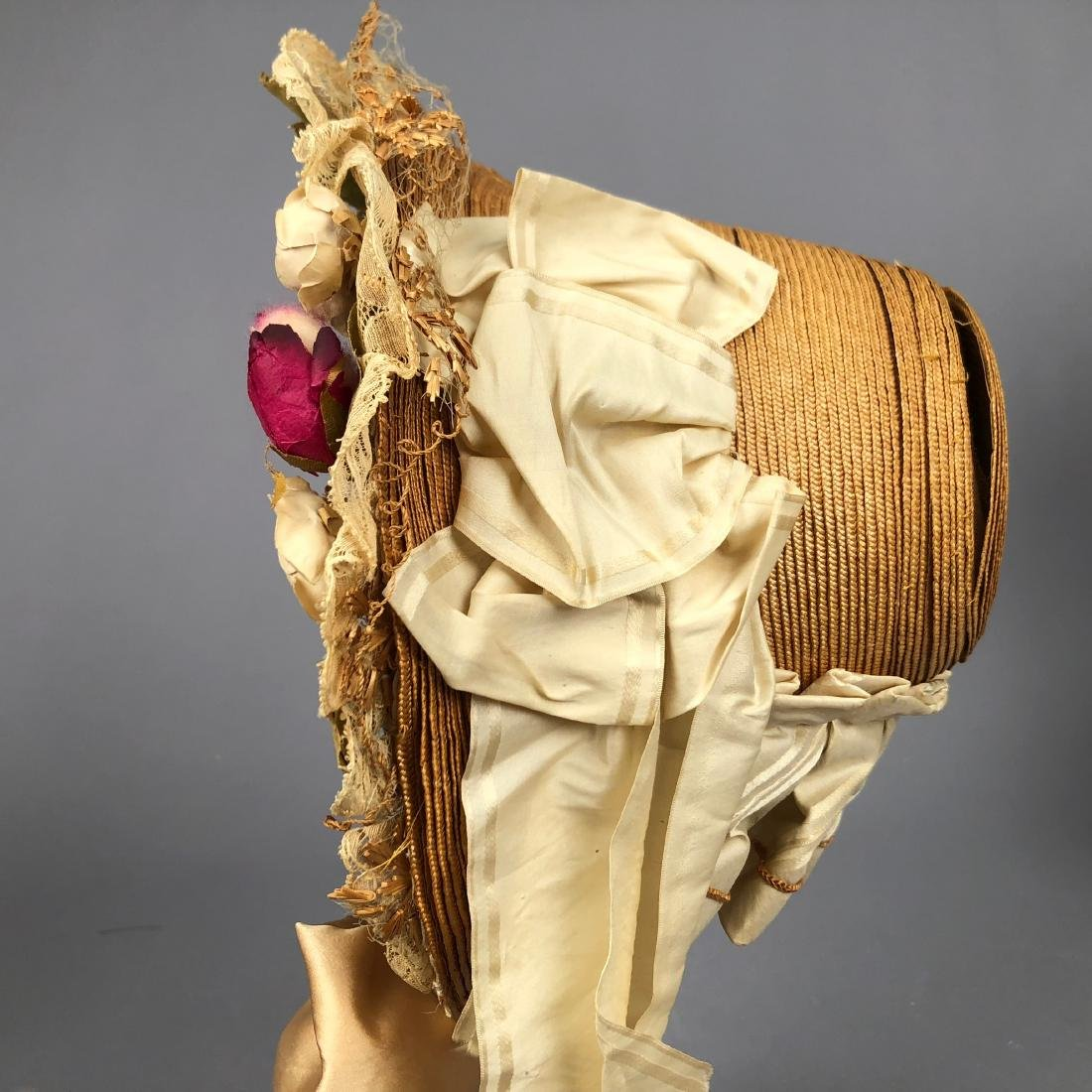 TAN STRAW LADY'S BONNET and GIRL'S HAT, 1850 - 1855 - 9