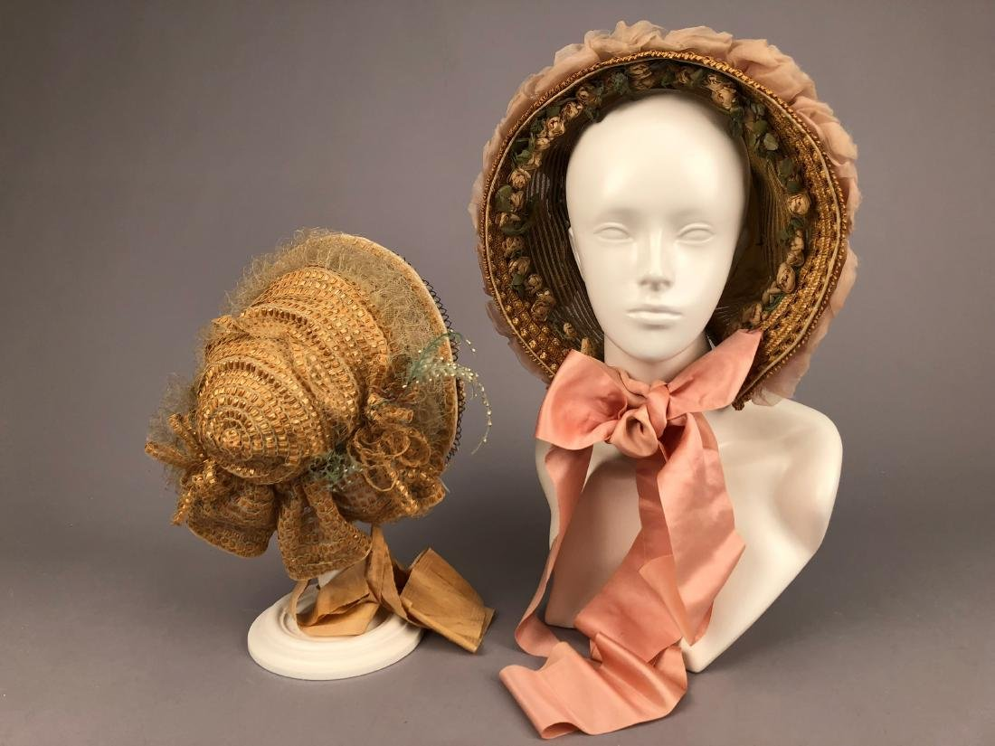 TWO BONNETS with HORSEHAIR, 1860, 1863