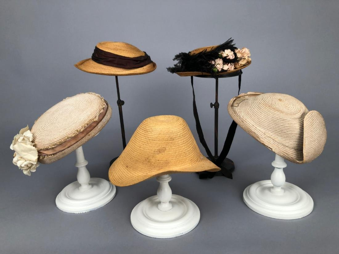 FIVE SMALL STRAW HATS, 1860s