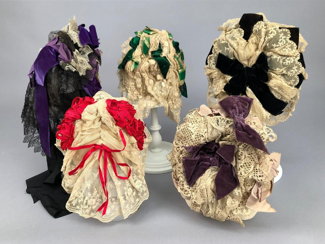 LOT of FIVE LACE BONNETS and CAPS, 1860s -1890s