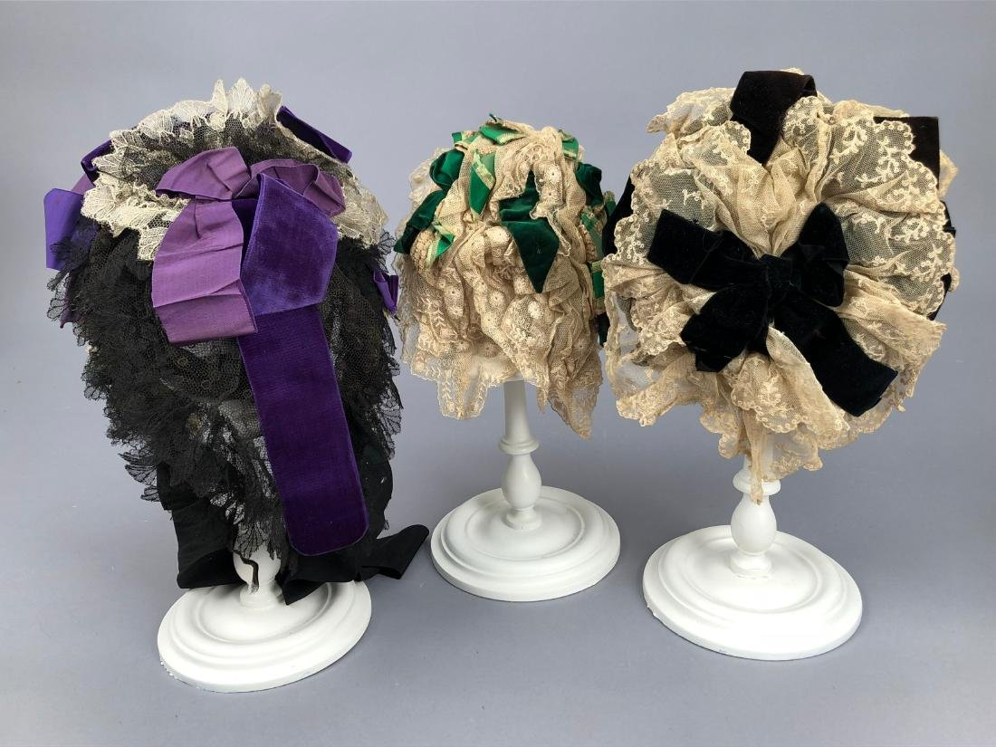 LOT of FIVE LACE BONNETS and CAPS, 1860s -1890s - 2
