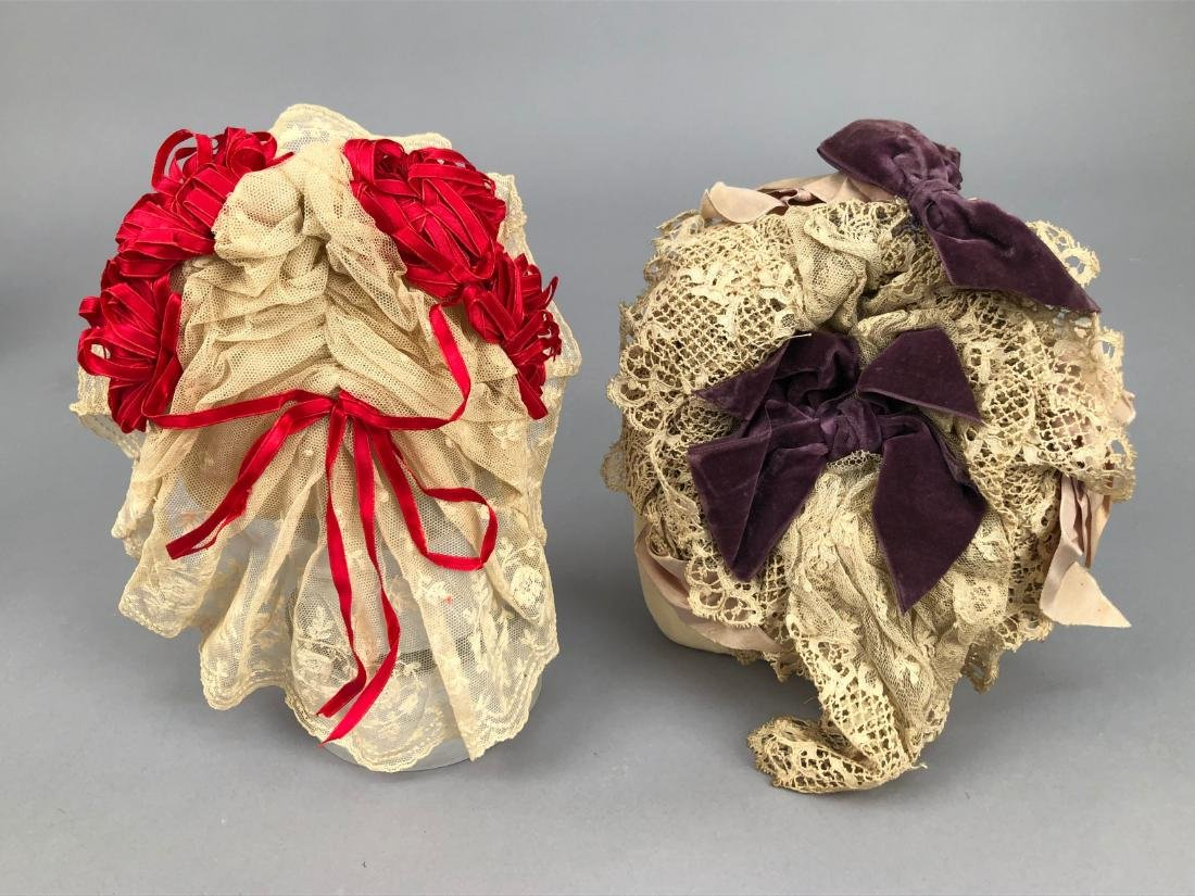 LOT of FIVE LACE BONNETS and CAPS, 1860s -1890s - 3