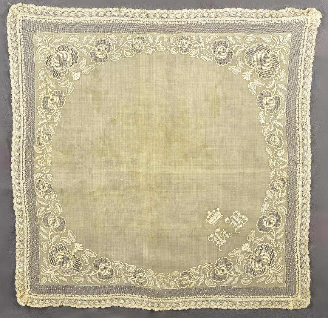 EMBROIDERED MUSLIN HANDKERCHIEF with CORONET, c. 1845