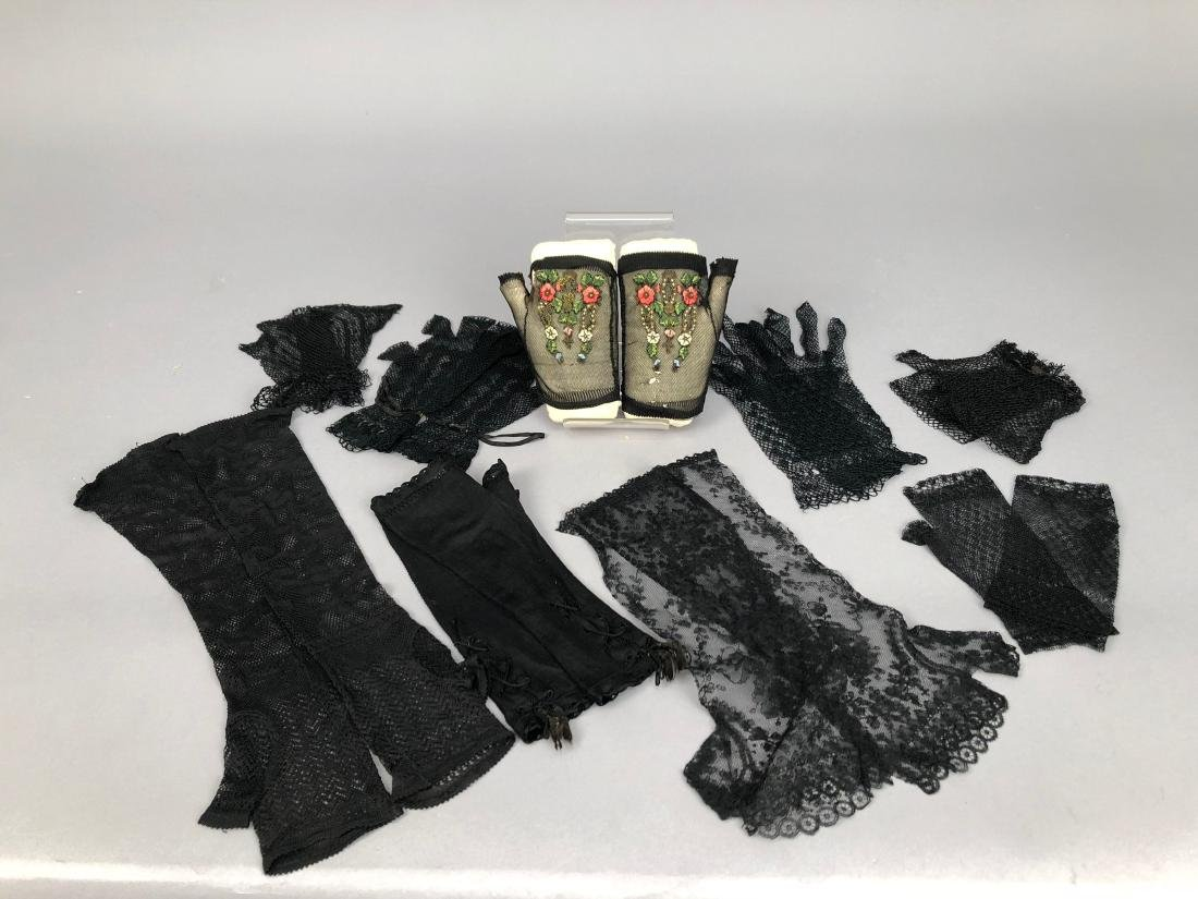 NINE PAIR LADIES' BLACK MITTS, 1840s