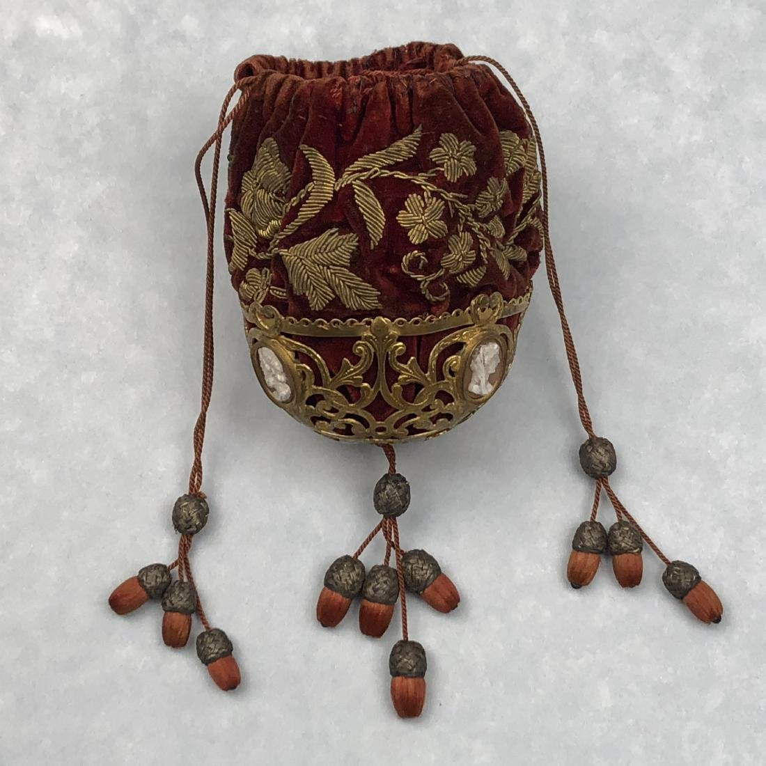 UNUSUAL VELVET PURSE with METALLIC BASE and CAMEOS, c.