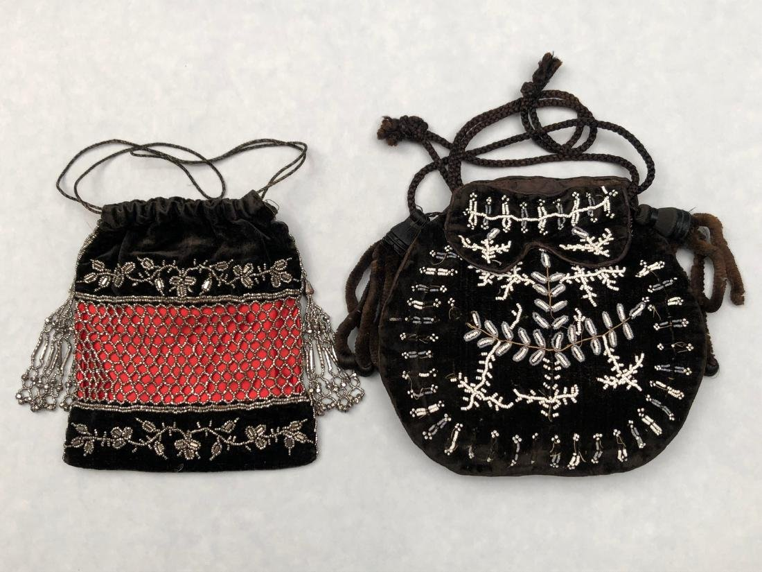 TWO BLACK VELVET BEADED BAGS, 1820 - 1830