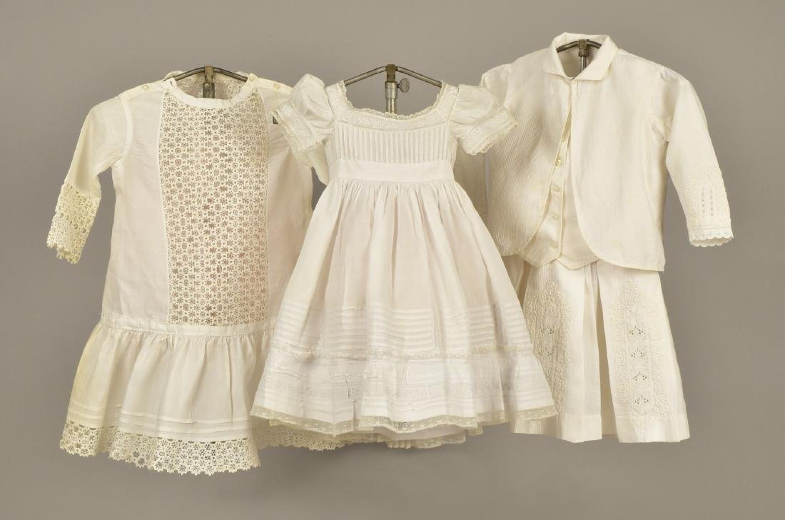THREE CHILDREN'S WHITE DRESSES, MID 19th C