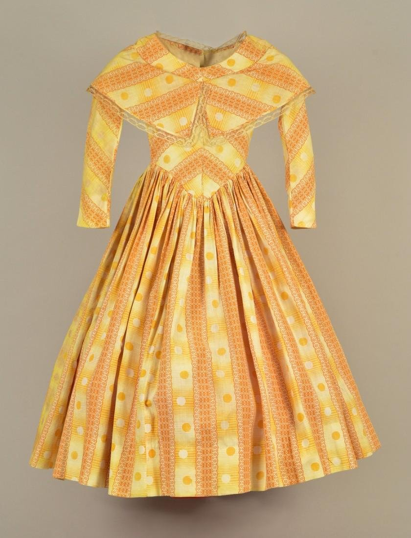 GIRL'S PRINTED COTTON DRESS, c. 1845