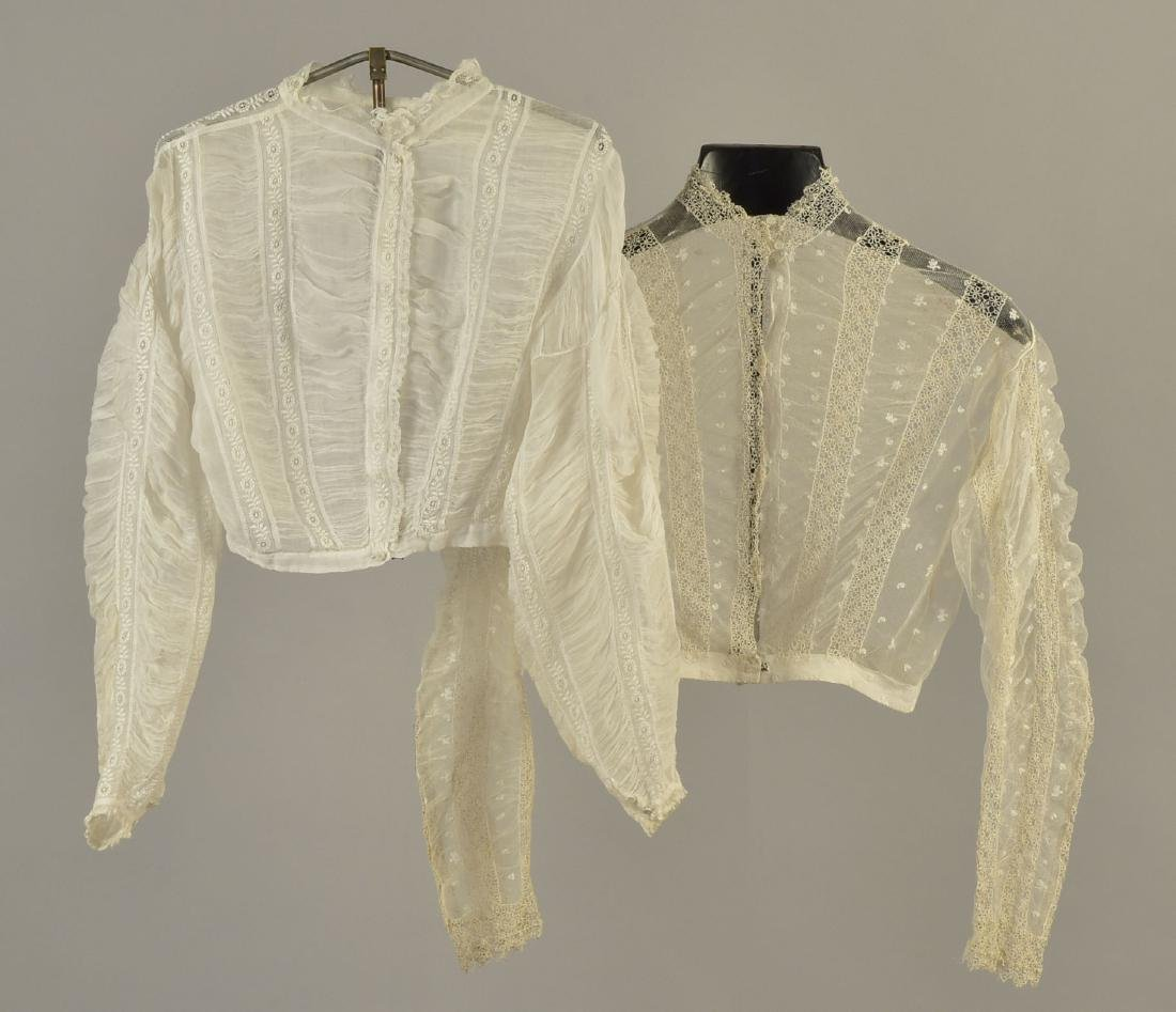 TWO WHITE COTTON BLOUSES, 1860s