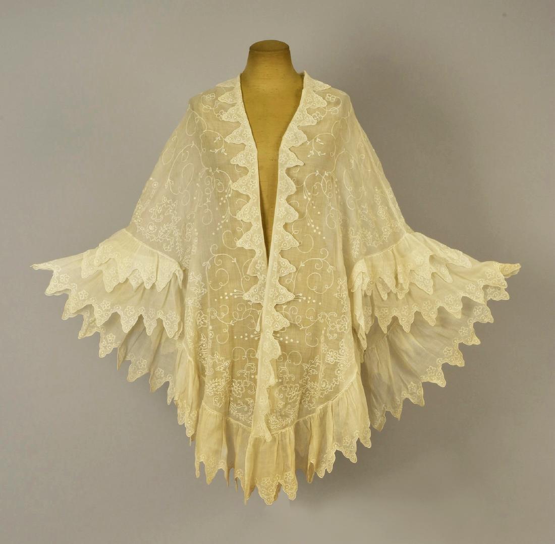 EMBROIDERED WHITE COTTON CAPE, 1840s