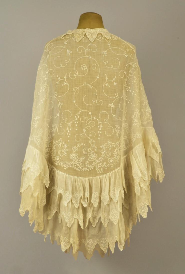 EMBROIDERED WHITE COTTON CAPE, 1840s - 2