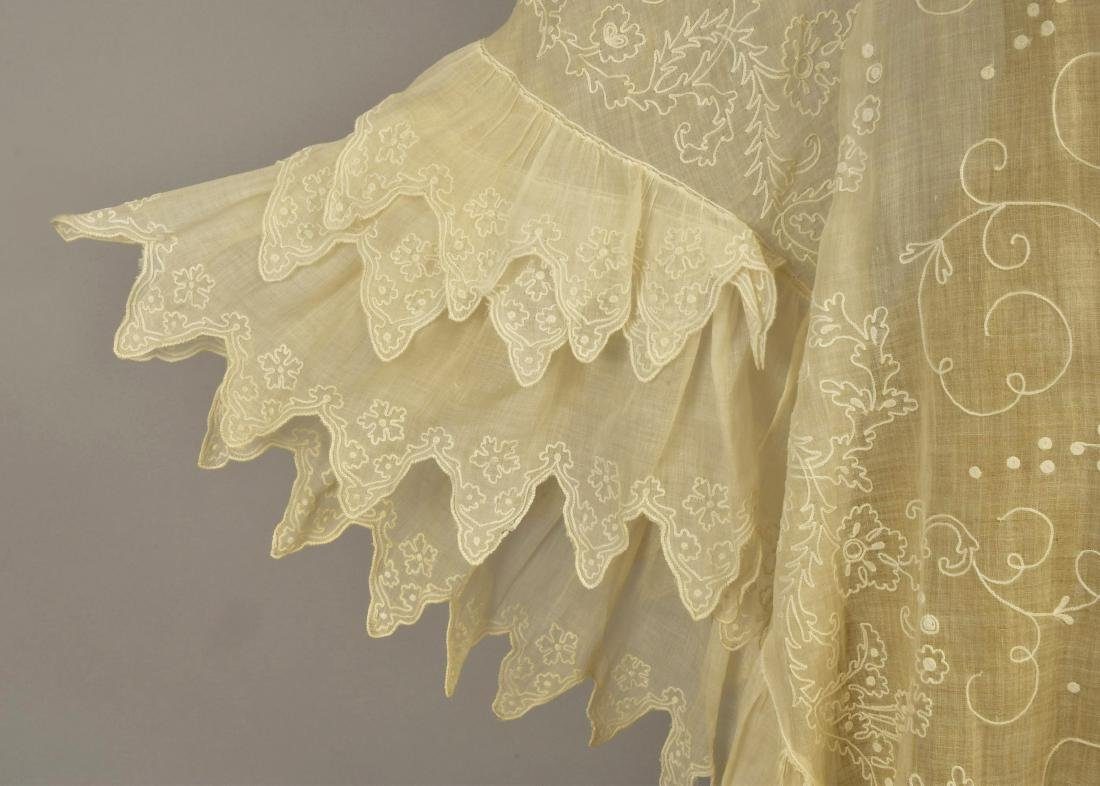 EMBROIDERED WHITE COTTON CAPE, 1840s - 3