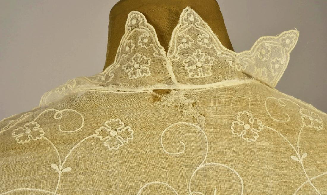 EMBROIDERED WHITE COTTON CAPE, 1840s - 4