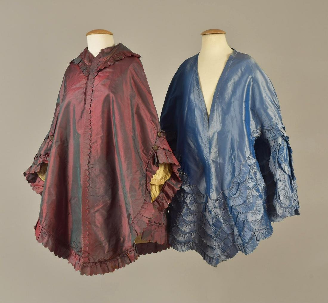 TWO SHOT SILK CARRIAGE CLOAKS with RUFFLES, 1840s -