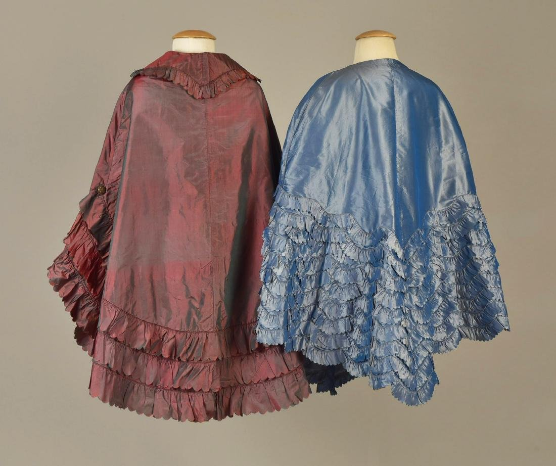 TWO SHOT SILK CARRIAGE CLOAKS with RUFFLES, 1840s - - 2