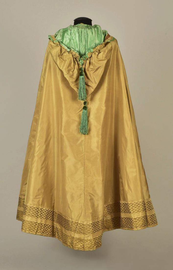 HOODED TAFFETA CAPE with FIGURED RIBBON, 1850s - 2