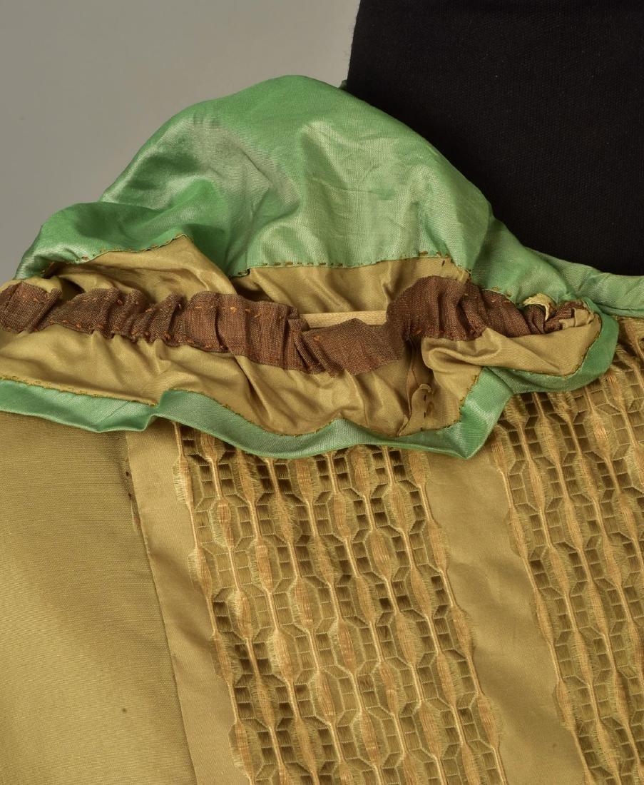 HOODED TAFFETA CAPE with FIGURED RIBBON, 1850s - 3