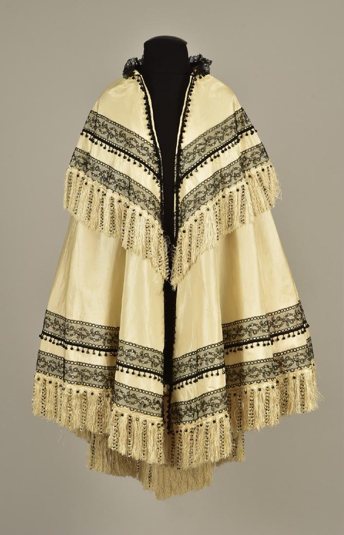 BEADED TAFFETA EVENING CAPE, 1860