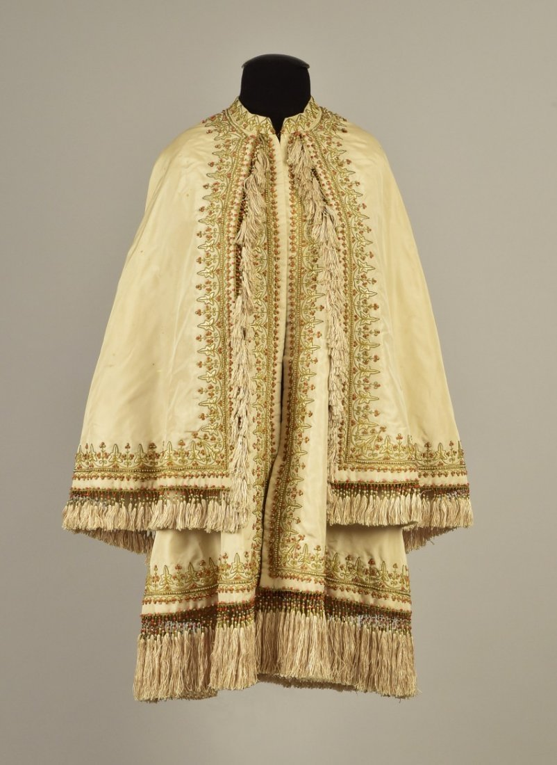 EMBROIDERED  CAPE with CORAL BEADS and PEARLS, c. 1865