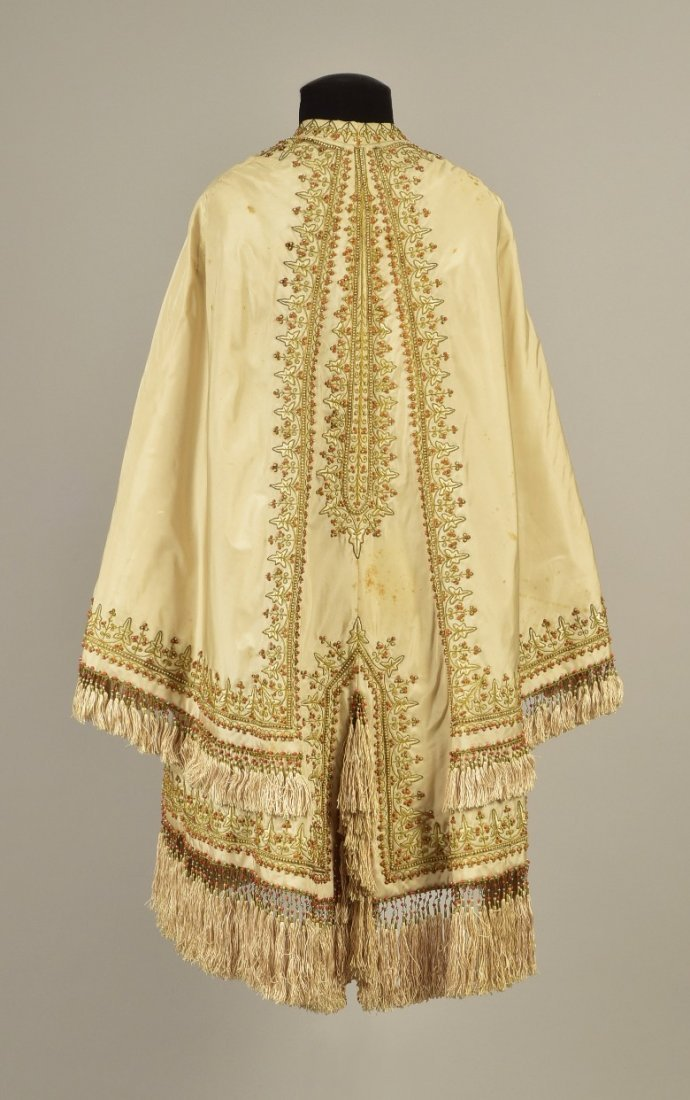EMBROIDERED  CAPE with CORAL BEADS and PEARLS, c. 1865 - 2