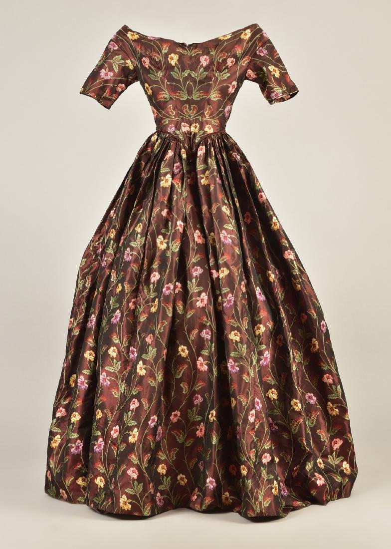 SILK BROCADE DRESS, c. 1845