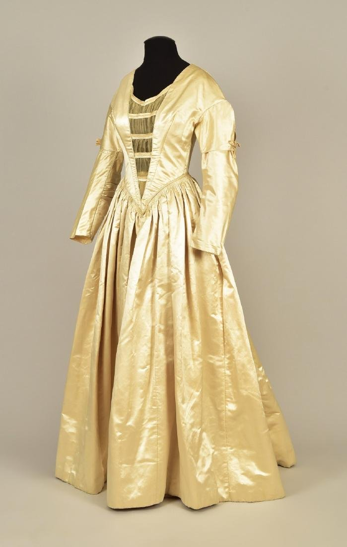 SATIN and ORGANDY WEDDING GOWN c. 1845