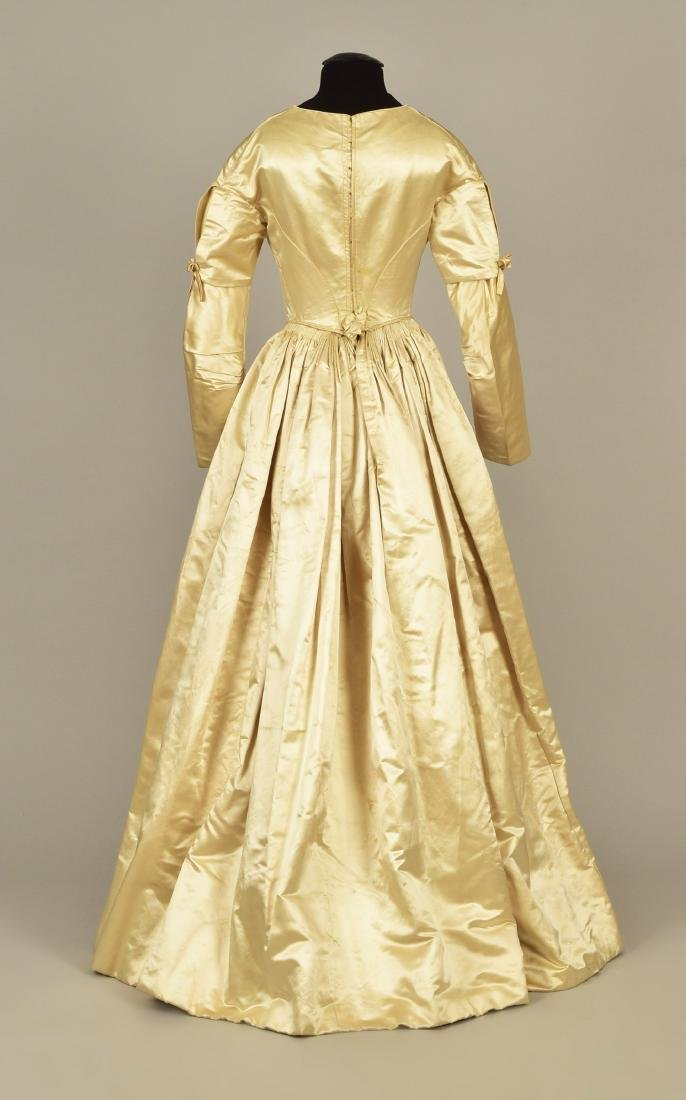 SATIN and ORGANDY WEDDING GOWN c. 1845 - 2